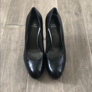 Stuart Weitzman Black Matte Leather Heels